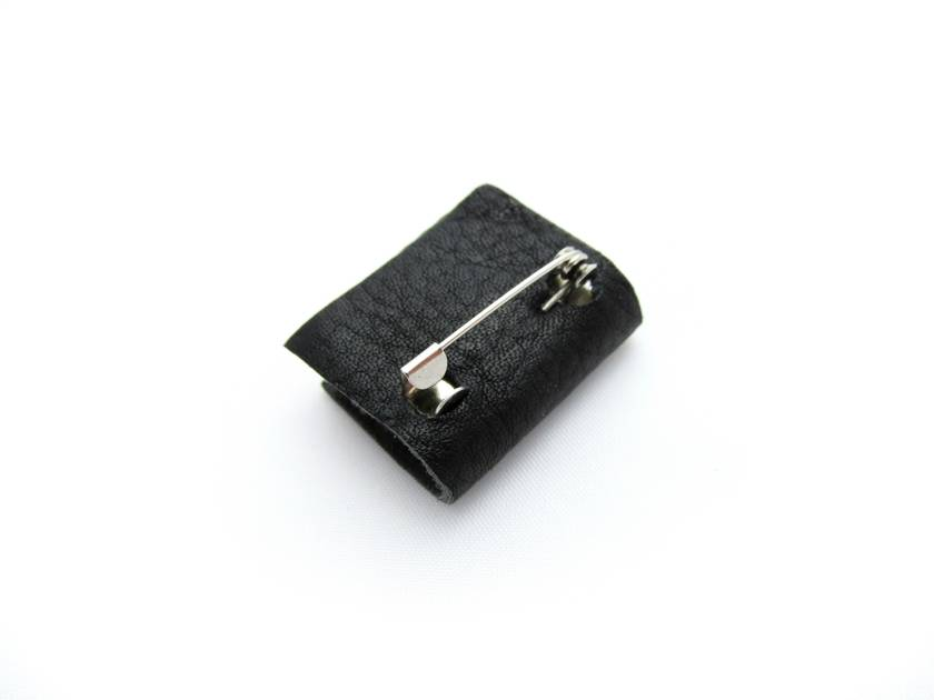 Handcrafted Miniature Book Brooch For Him- Black Leather Bound