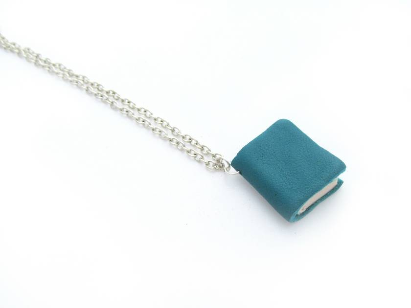 Miniature Book Necklace Handcrafted from Upcycled Books and Leather Bound in Teal