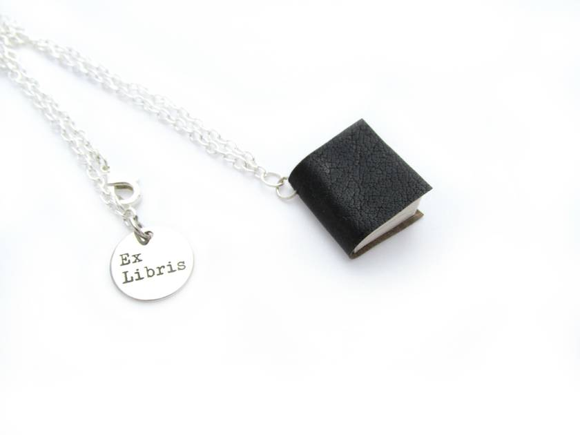 Black Leather Literature Necklace- Leather Bound Handcrafted Miniature Book Necklace- Upcycled
