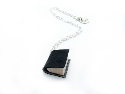 Vinyl Bound Handcrafted Black Miniature Book Necklace- Upcycled, Cruelty Free/ Animal Friendly