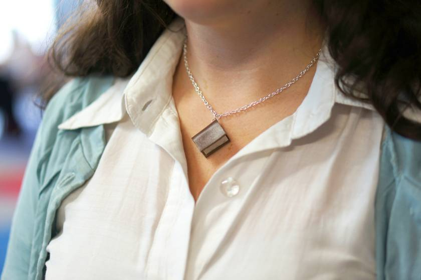 Tiny Brown Book Necklace Handcrafted/ Upcycled -Leather Bound Miniature