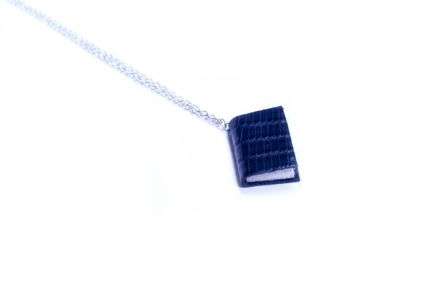 Miniature Book Necklace Handcrafted from Upcycled Books and Bound in Lizard Print Leather - Royal Blue, Rich, Deep, Navy