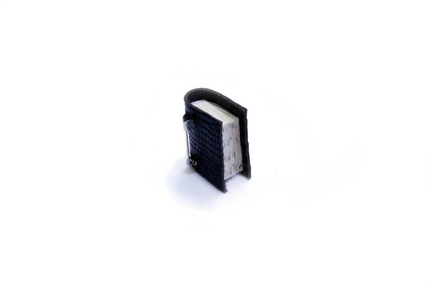 Unisex Book Brooch - Handcrafted Shiny Black Lizard Print Leather - Book Jewellery - Miniature Literature Accessory