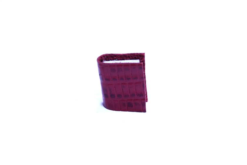 Leather Book Brooch - Miniature Handcrafted Unisex Book Jewellery - Maroon/ Red Lizard Print Embossed Leather