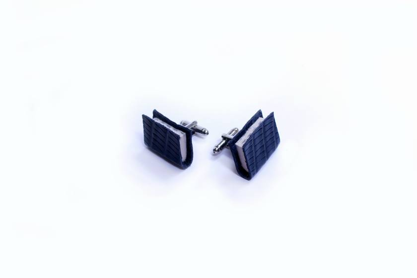 Ex Libris - Royal Blue Miniature Handcrafted Book Cuff Links For Him - Teeny Tiny, Miniature, Lilliput Literature in Textured Lizard Leather