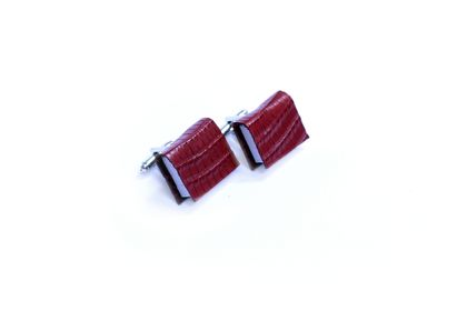 Miniature Maroon Book Cuff Links For Him - Textured Lizard Print Leather - Blood Red Maroon - Leather Book