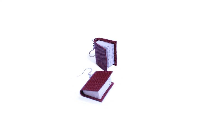 Leather Book Earrings - Lizard Texture, Maroon Red - Miniature Upcycled Book Jewellery - Paper Craft Accessory