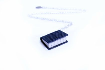 Teeny Tiny Miniature Book Necklace Handcrafted from Upcycled Books and Leather Bound in Lizard Embossed Leather- Deep Royal Blue