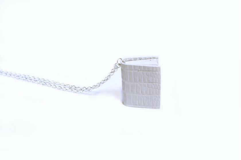 Miniature Book Necklace Handcrafted from Upcycled Books & Leather Bound in Cream Embossed Leather (Lizard Print) - Ivory Wedding Accessory