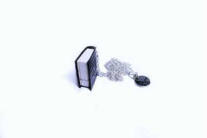 Dark Brown Textured Book Necklace Handcrafted in Embossed Lizard Print Leather - Classic Literature Miniature Accessory - Book Jewellery
