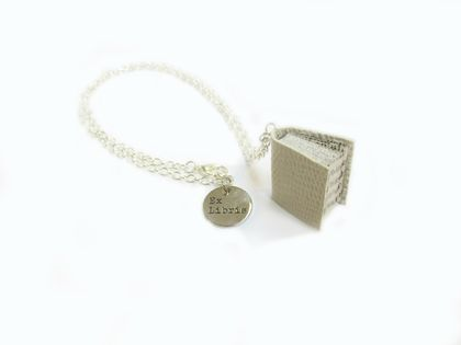 Ivory Book Necklace - Miniature Upcycled Book - Leather Bound Book Jewellery - Off White/ Cream Lizard Texture Leather