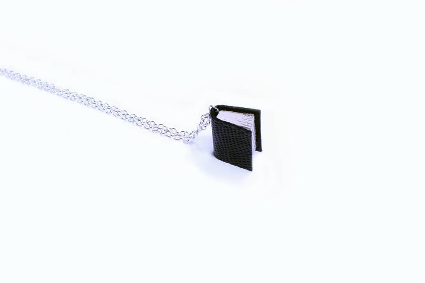 Black Lizard Leather Literature Necklace- Textured Leather Bound Handcrafted Miniature Book Necklace- Upcycled