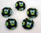 Fabric Covered Buttons x 5 - Green Owl