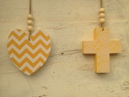 Wooden hearts and crosses