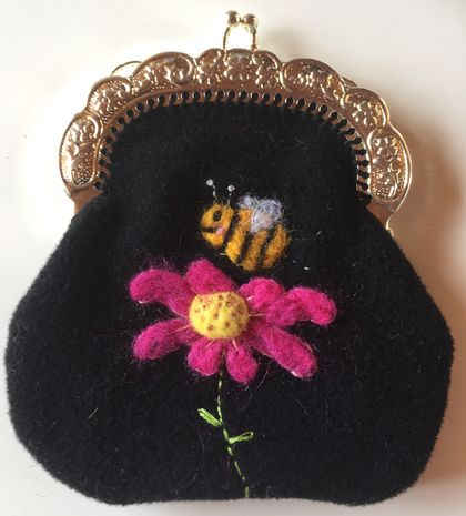Wool felted baby bee purse