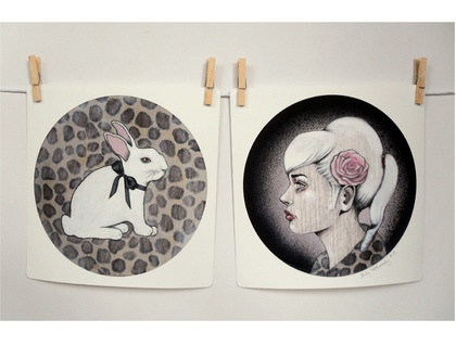 'Albert and Alice' - Small limited edition giclee print set by Andy McCready