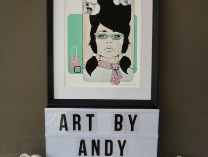 'Poodle Parlour' - Small limited edition giclee print by Andy McCready