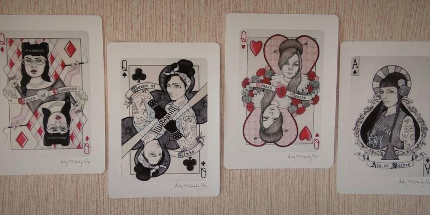 'Wild Cards' - Small limited edition giclee print set by Andy McCready