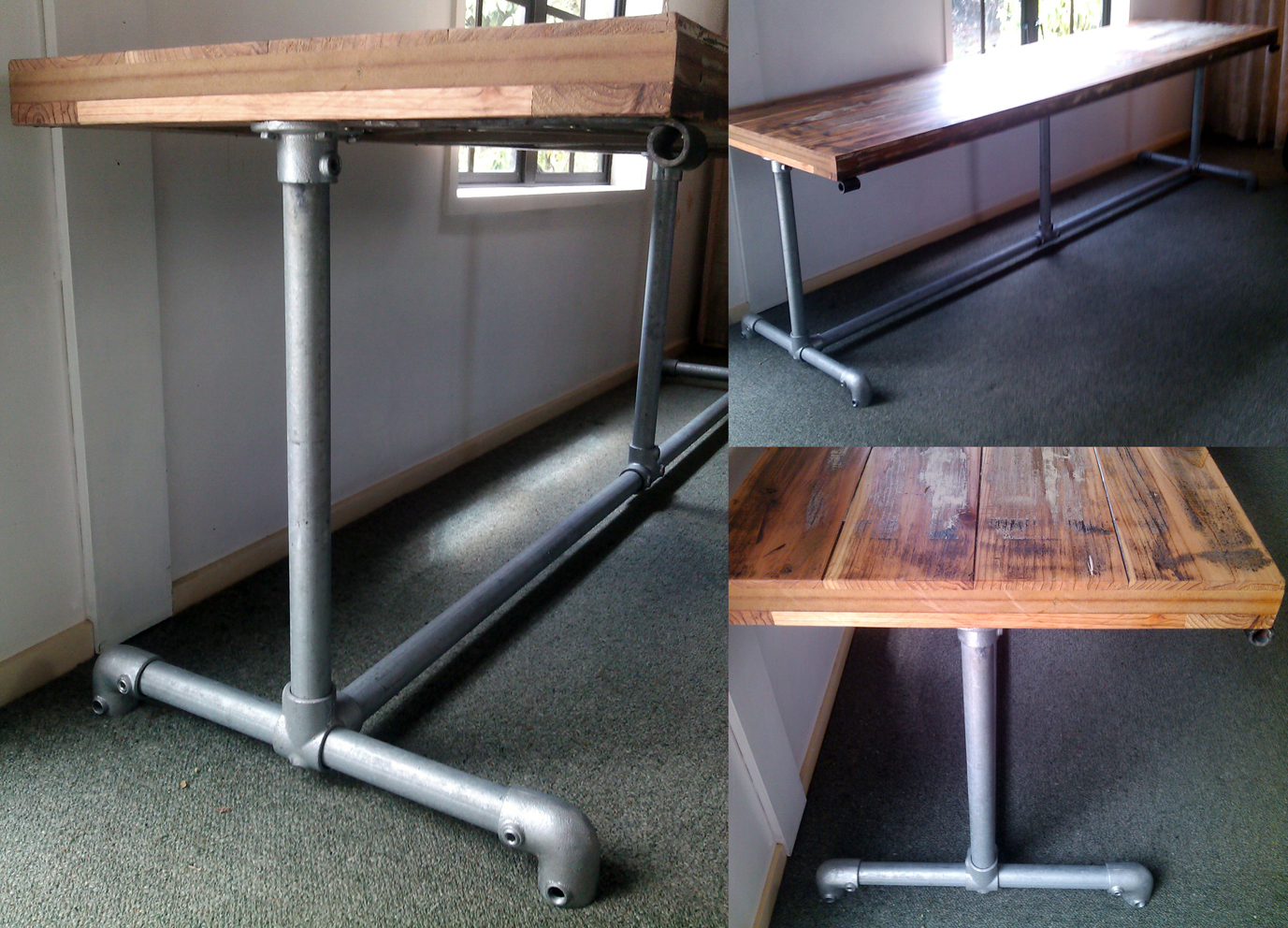 INDUSTRIAL DINING TABLE timber top amp pipe legs Felt : o from felt.co.nz size 1377 x 992 jpeg 1198kB