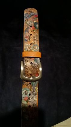 Unique handpainted and tooled Leather belt- western style
