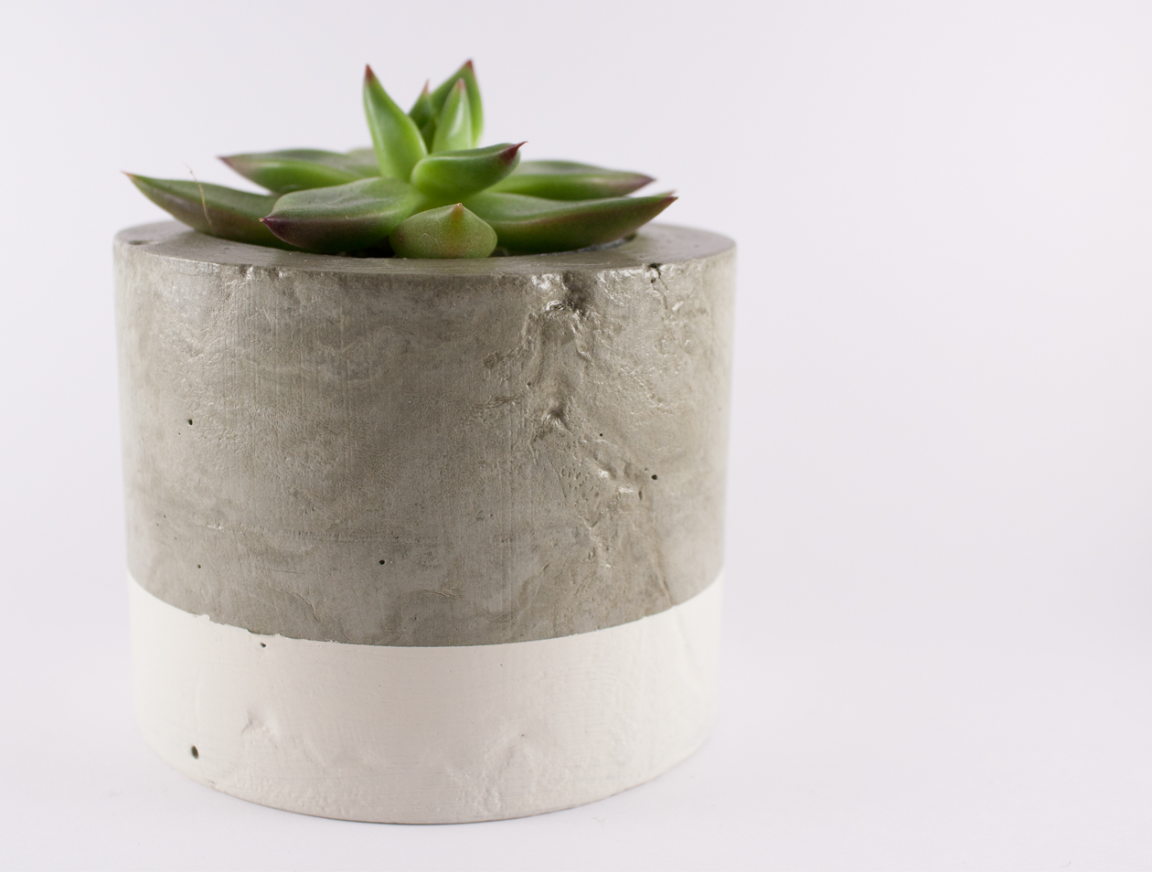 Paint dipped concrete planter pot white felt Concrete planters