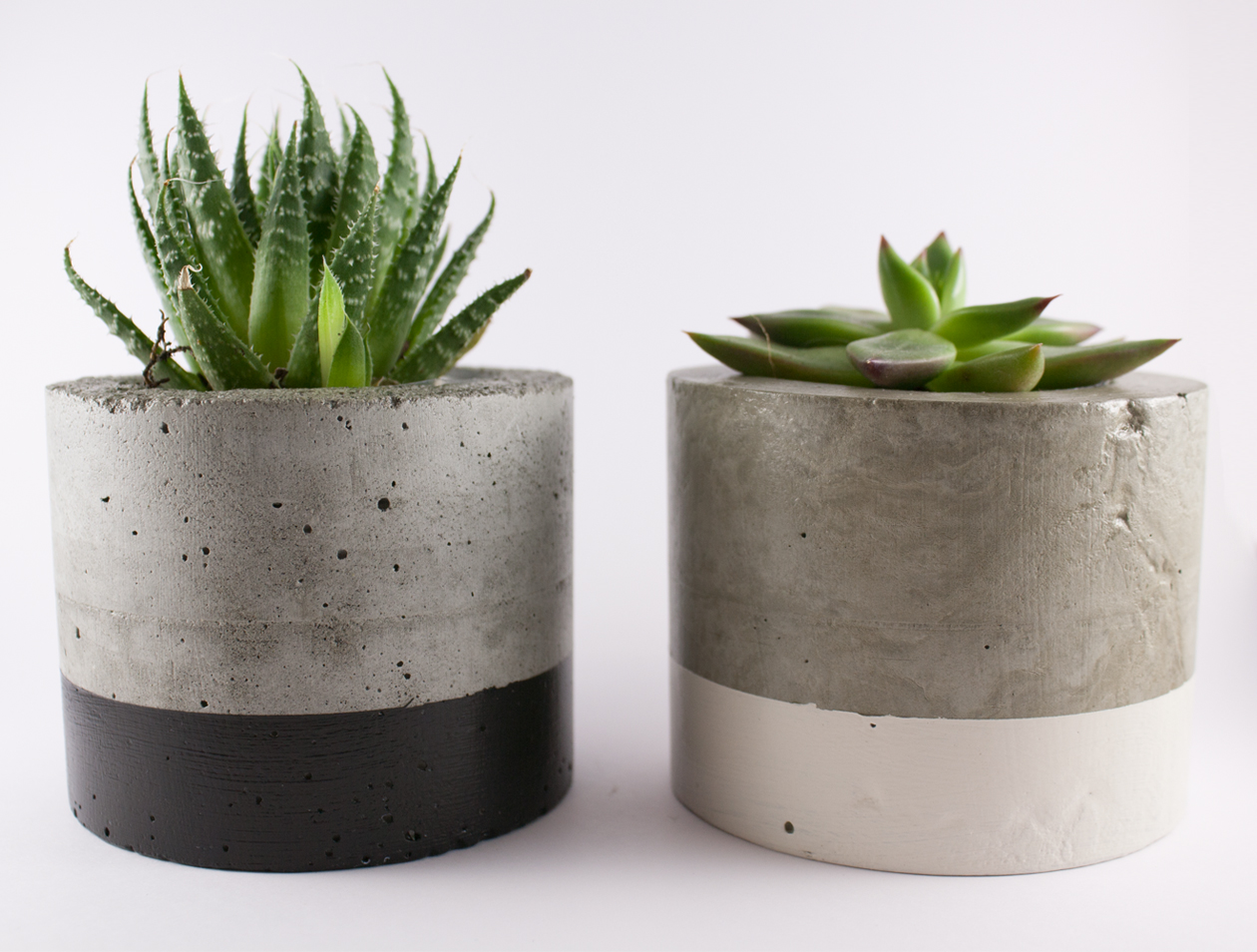 Dipped cement planter pot white felt Concrete planters