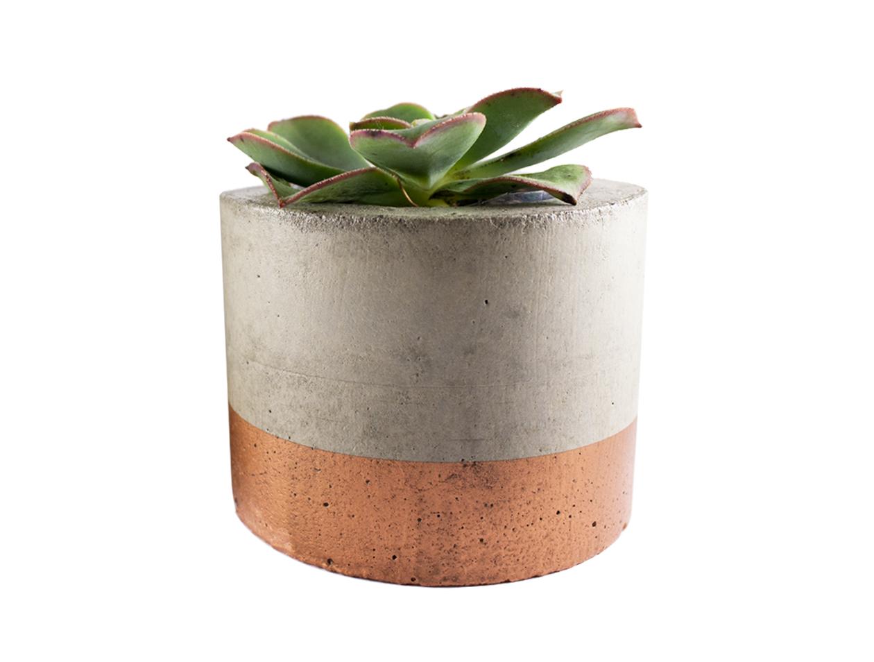 Paint dipped concrete planter pot copper felt for Painting concrete pots