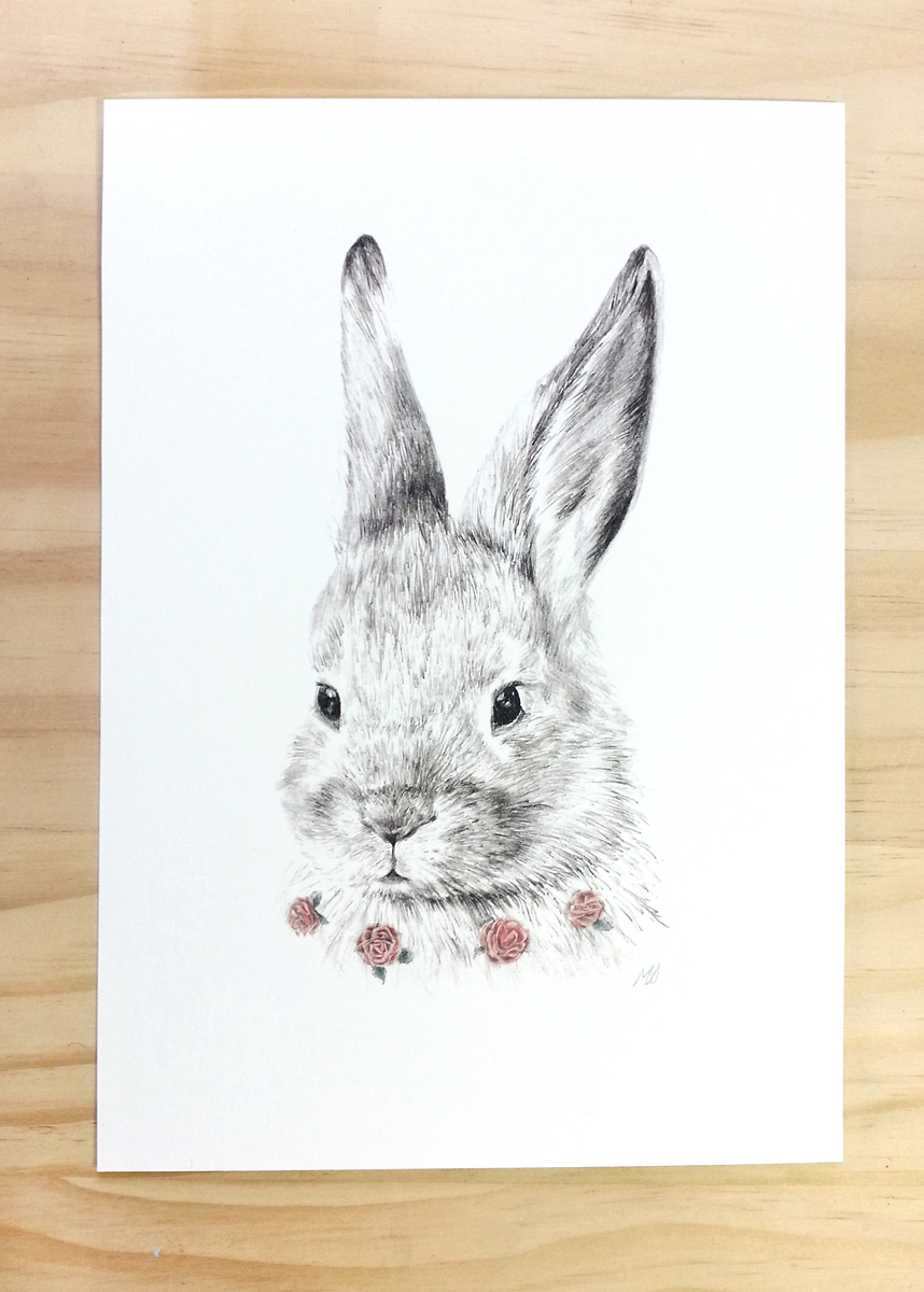 Bunny Print A4 Contemporary Art Print Of Pencil And Watercolor