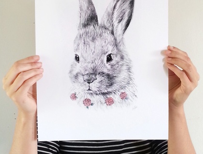 Bunny print A3 - Contemporary art print of pencil and watercolor drawing