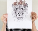 King of the Jungle lion print A3 - Contemporary art print of pencil and watercolor drawing