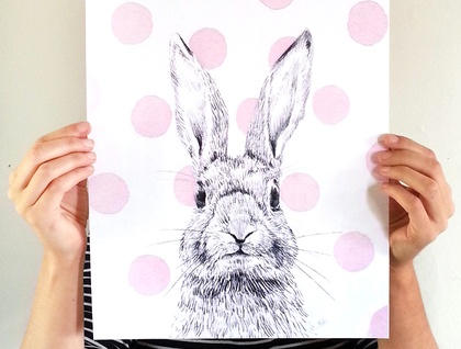 Pink Polka Dot Bunny print A3 - Contemporary art print of pencil and watercolor drawing