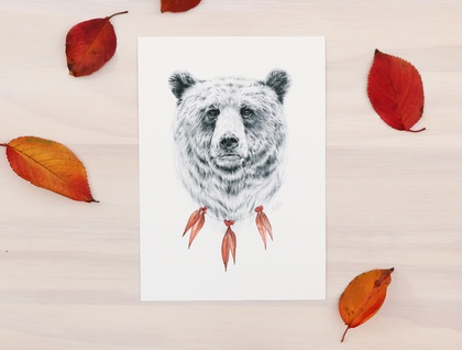 Bear print A4 - Contemporary bear art print of pencil and watercolor drawing