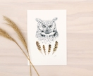 Wise Owl print A5 - Contemporary art print of pencil and watercolor drawing