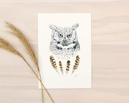 Wise Owl print A4 - Contemporary art print of pencil and watercolor drawing