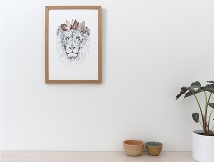 Lion King of the Jungle print A5 - Contemporary art print of pencil and watercolor drawing