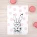 Pink Polka Dot Bunny print A4 - Contemporary art print of pencil and watercolor drawing