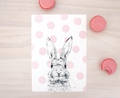 Pink Polka Dot Bunny print A4 - Contemporary art print of pencil and watercolor drawing