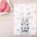 Pink Polka Dot Bunny print A5 - Contemporary art print of pencil and watercolor drawing
