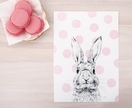 Pink Polka Dot Bunny print A5 - Contemporary art print of pencil and watercolor drawing