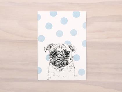 Blue Polka Dot Pug Dog print A5 - Contemporary art print of pencil and watercolor drawing