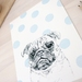 Blue Polka Dot Pug Dog print A5 - Contemporary art print of pencil and watercolor drawing