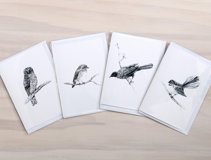NZ Native Bird Greeting Cards - Featuring pencil drawings of Piwakawaka, Tui, Toutouwai, Ruru