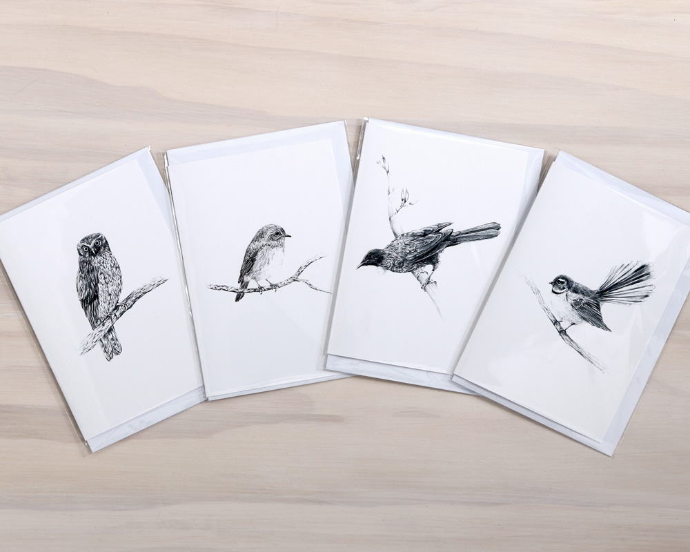 Nz Native Bird Greeting Cards Featuring Pencil Drawings Of