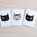 Cats Eyes Greeting Cards - Featuring digital prints of linocut cat designs