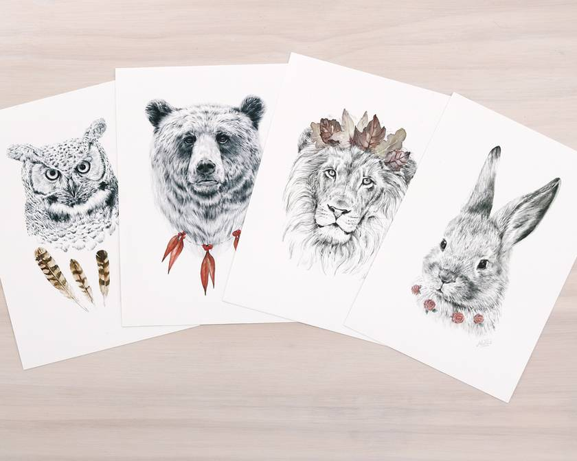 Wild Pets set of A5 prints: lion, bear, bunny, owl - Contemporary art print of pencil and watercolor drawing