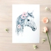 Wild Pony print A5 - Contemporary art print of pencil and watercolor drawing