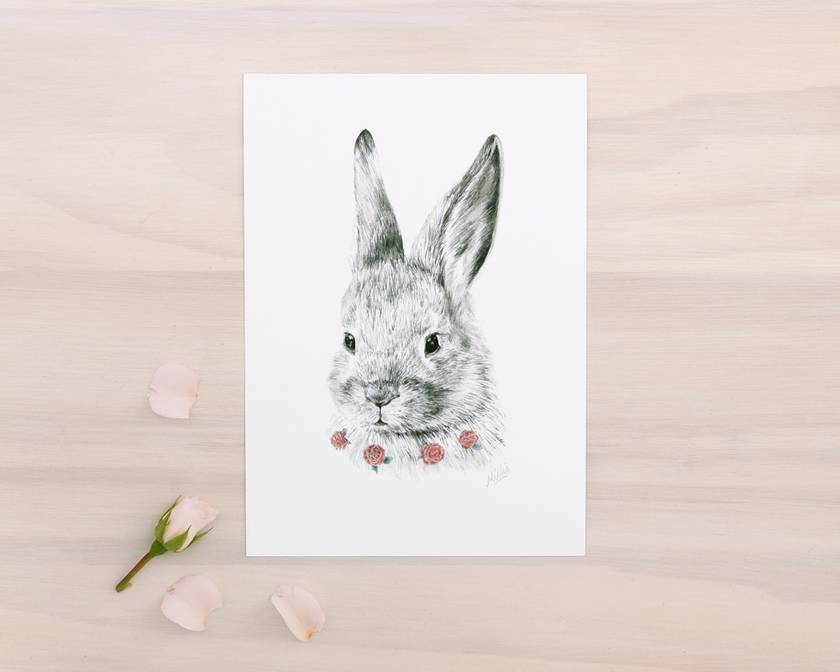 Bunny print A4 - Contemporary art print of pencil and watercolor drawing