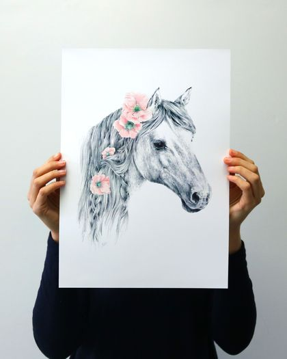 Wild Pony print A3 - Contemporary art print of pencil and watercolor drawing
