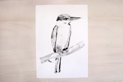 Kotare (kingfisher) print A4 - Contemporary art print of Ink and wash.