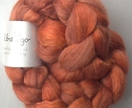 "Merino,Alpaca and SILK carded sliver approx. 100g Hand-painted. ""Copper"""
